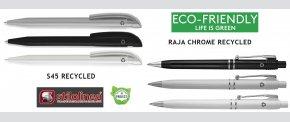 Økologiske kuglepenne fremstillet af genbrugsplast