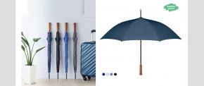 Øko paraply med lige træhåndtag.