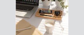 Bambus Skrivebordsorganisator og trådløs mobil oplader