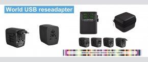 USB rejse adapter. Passer i 150 lande.